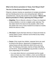 (1) Divorce procedure in Texas