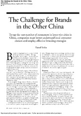 Week 9-The Challenge for Brands in the Other China