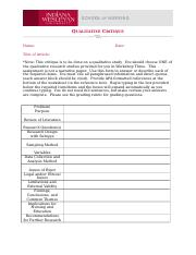 Qualitative Critique Worksheet