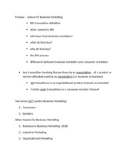 Notes Intro to Business Marketing