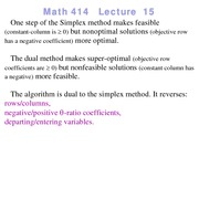 Lecture 15 on Linear Programming