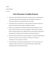 Unit 1 Discussion 1 Familiar Protocols