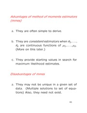 Lecture on method of moments, and least squares estimators