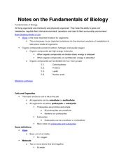 Notes on the Fundamentals of Biology
