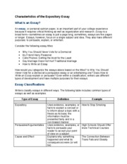 """com150 characteristics of expository essays The type of organization used for """"setting the table"""" was the informative process an expository essay developed by the informative process is a """"how to"""" essay."""