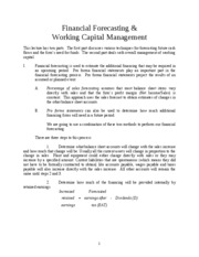 Financial Forcasting & WC Management