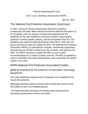 Physical Networking NT 1310 NFPA