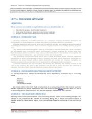 Unit 04 The Income Statement (Text - 5 pages)