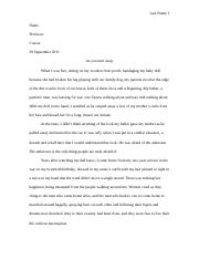 WRT 1010 Narrative Essay