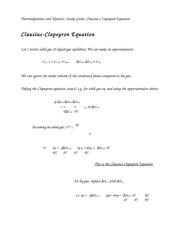 Thermodynamics and Kinetics- Study Guide- Clausius Clapeyron Equation