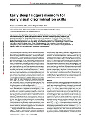 4 visual discrimination  Early sleep triggers memory for early visual discrimination skills