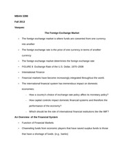 MBAN 3398 Notes on The Foreign Exchange Market