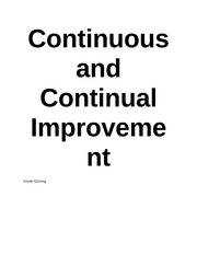 Continuous and Continual Improvement