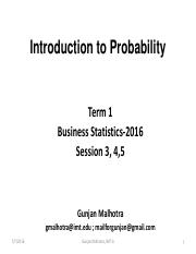 Probability - Session 3, 4 & 5