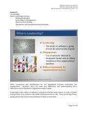 Lesson 9 Leadership