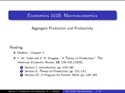 Lecture 3 - Aggregate Production and Productivity