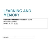 LEARNING AND MEMORY IRAN WILLIAMS 3-27-11