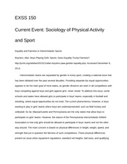 Sociology of Physical Activity and Sport