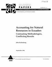 Accounting for natural resources in Ecuador