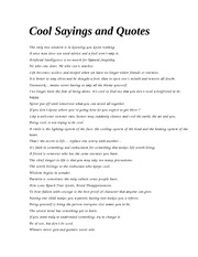 Cool Sayings and Quotes