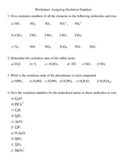 Assigning Oxidation Numbers Worksheet – 20151_61520 - Worksheet ...