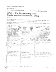 Worksheet on Opportunity Cost