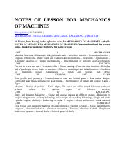 NOTES OF LESSON FOR MECHANICS OF MACHINES.docx