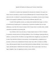 Spanish 335 Death in the Mayan and Christian Culture Essay