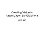 Creating Vision in Organization Development