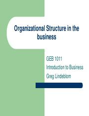 Organizational Structure in the business - GEB1011 INTRO BUS ONLINE 483486