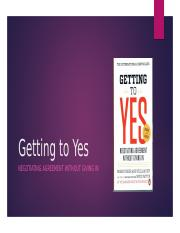 Getting to Yes (1)