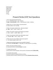 Present Perfect EOY Test Questions - Spanish 2