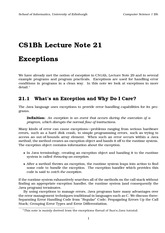 Lecture on Exceptions