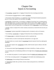 Chapter One - Inputs to Accounting