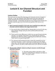 Introduction to Neurobiology - Lecture Notes 06 - Ion Channel Structure, Function, Diversity