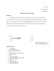 an experiment on the synthesis of camphor from isoberneol Related searches for isoborneol to camphor mechanism reduction of camphor to isoborneol with sodium borohydride author: exp't 136 isoborneol from camphor: a reduction courseschempsuedu/chem36/web%20syn06/exp136syn06pdf expmt # 803 the synthesis of camphor from camphene.
