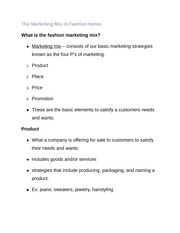 The Marketing Mix in Fashion Notes