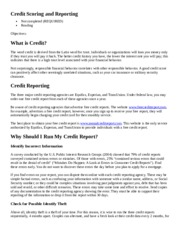 Credit Scoring and Reporting
