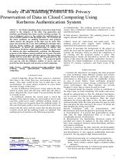 462315Study of an Auditing Protocol for Privacy Preservation of Data in Cloud Computing Using Kerber