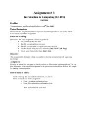 Introduction to Computing - CS101 Fall 2006 Assignment 03.doc