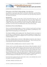 Obstacles in The Path of Knowledge - Part 1