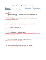 Decision Making and Resisting Pressure Article Questions - Trinity Gilbert.docx