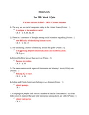 SOC 308 Week 1 Homework Quiz
