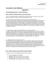 WK 3- Assignment- Appendix C- The Building Blocks of Life Worksheet