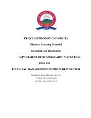 FINA 431-Financial Management in Public Sector