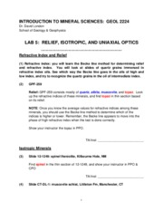 Lab 5 Relief Isotropic Uniaxial Optics