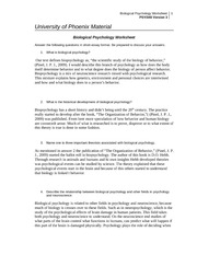 biological psychology worksheet 2 essay In this lesson, you'll learn what the biological approach to psychology is and how  it is used to better understand the human experience.