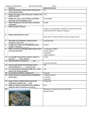 Geology 101 Worksheet Ch10