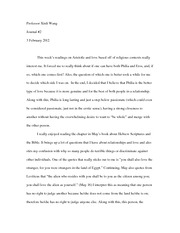 Journal #2 on Aristotle and Religious Love