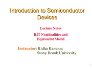 Lecture 14 - BJT Nonidealities and Equivalent Model